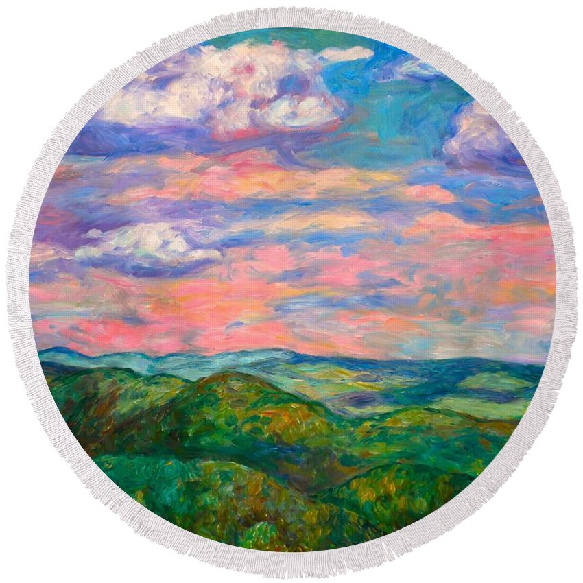 Landscape Paintings Round Beach Towel featuring the painting Rock Castle Gorge by Kendall Kessler