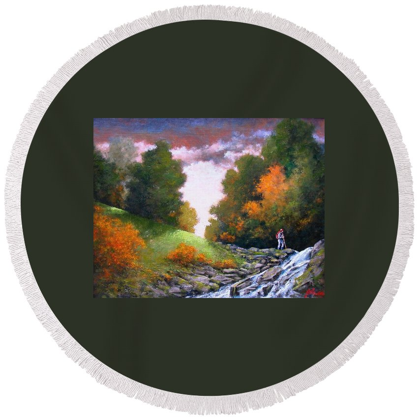 Artist Round Beach Towel featuring the painting Rock Creek by Jim Gola