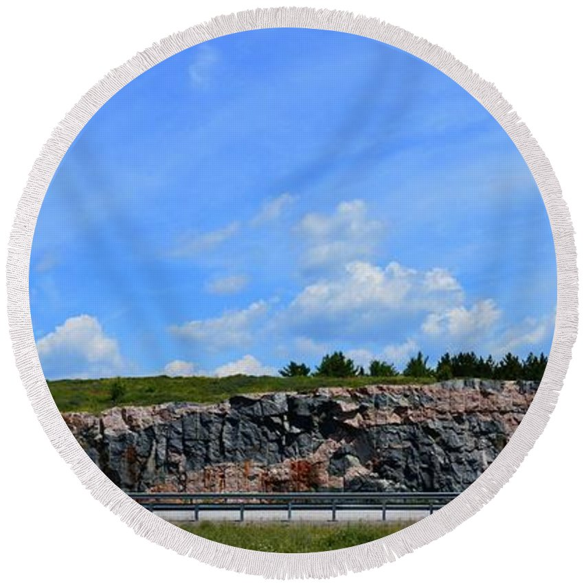 Abstract Round Beach Towel featuring the photograph Rock Cut Panorama by Lyle Crump