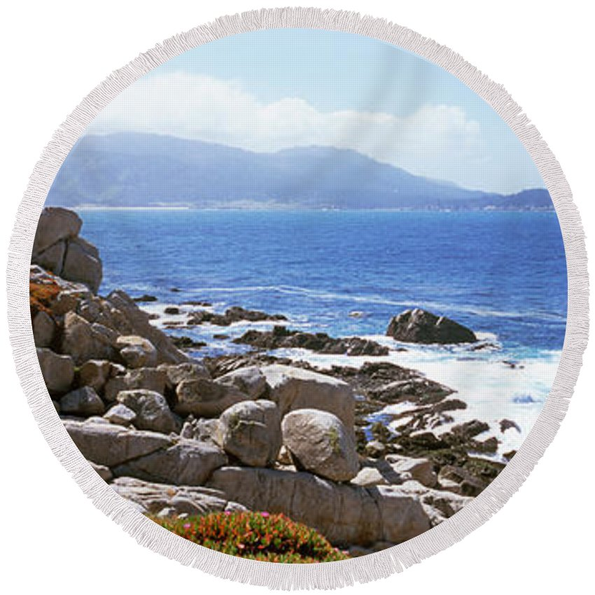 Photography Round Beach Towel featuring the photograph Rock Formations On The Coast, 17-mile by Panoramic Images