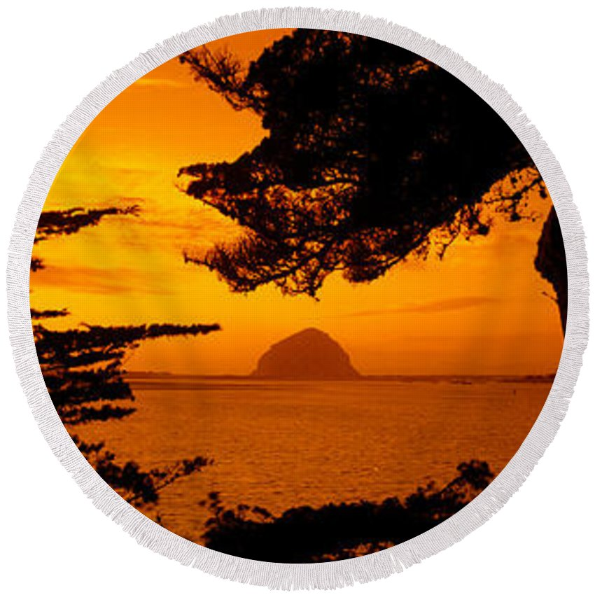Photography Round Beach Towel featuring the photograph Rock In A Lake At Dusk, Morro Rock by Panoramic Images