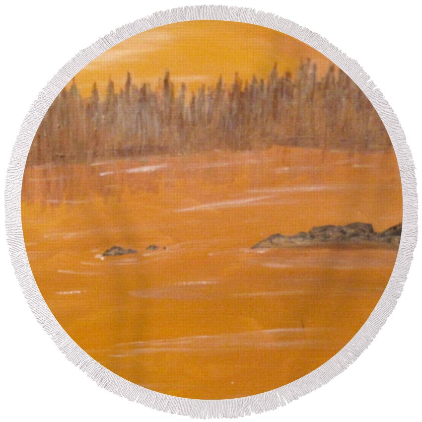 Northern Ontario Round Beach Towel featuring the painting Rock Lake Morning 2 by Ian MacDonald