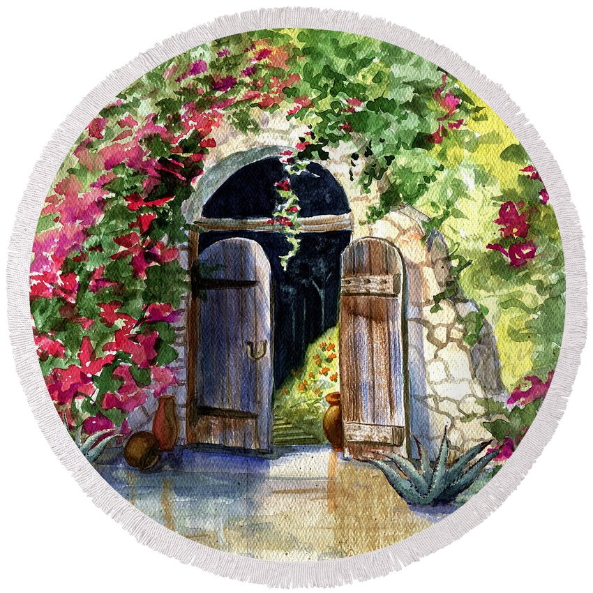 Garden Gate Round Beach Towel featuring the painting Rock Springs Gate by Marilyn Smith