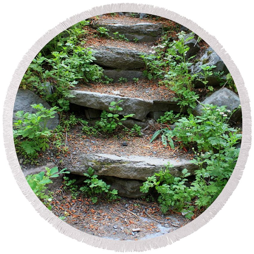 Rock Stairs Round Beach Towel featuring the photograph Rock Stairs by Carol Groenen
