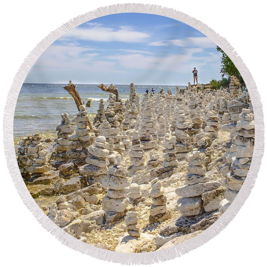 Rock Structures Round Beach Towel featuring the photograph Rock Structures On Lake Michigan by Nikki Vig
