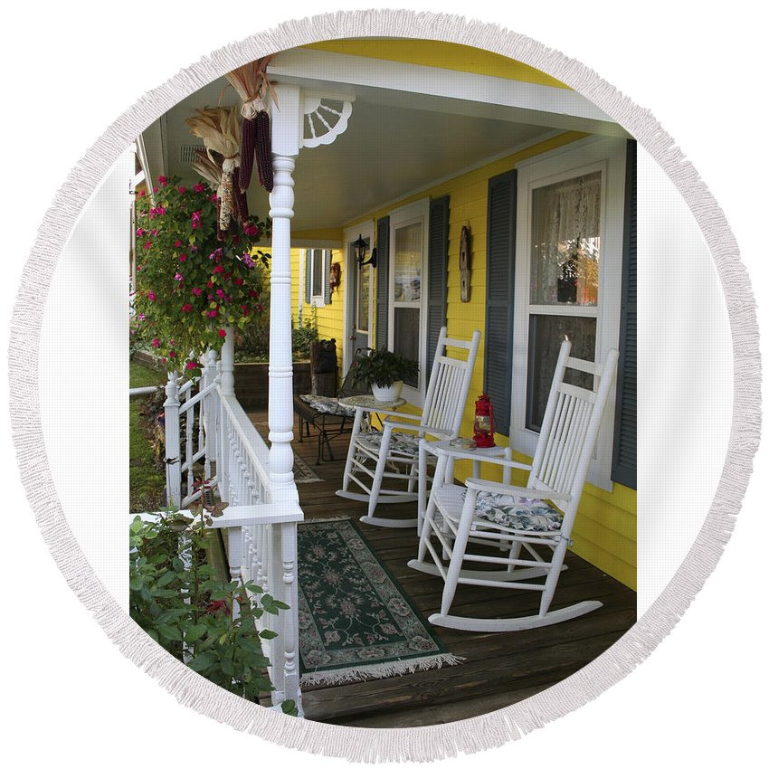 Rocking Chair Round Beach Towel featuring the photograph Rockers On The Porch by Margie Wildblood