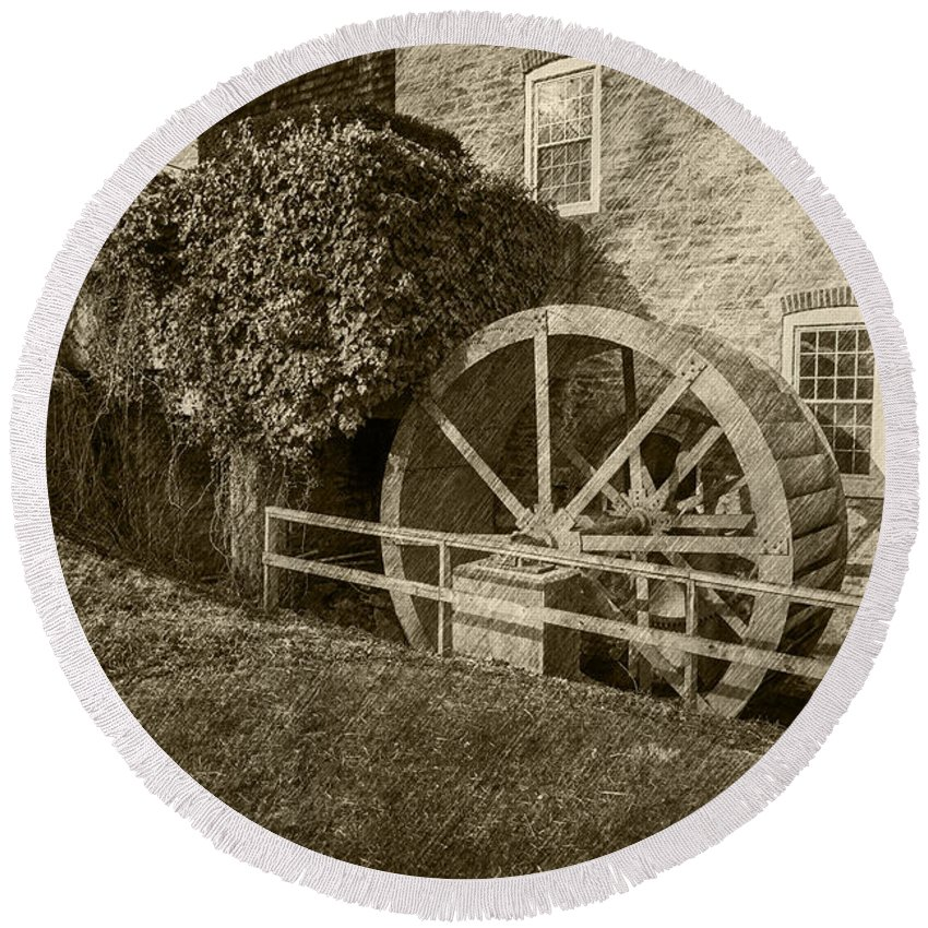 2d Round Beach Towel featuring the photograph Rockland Grist Mill - Sepia by Brian Wallace