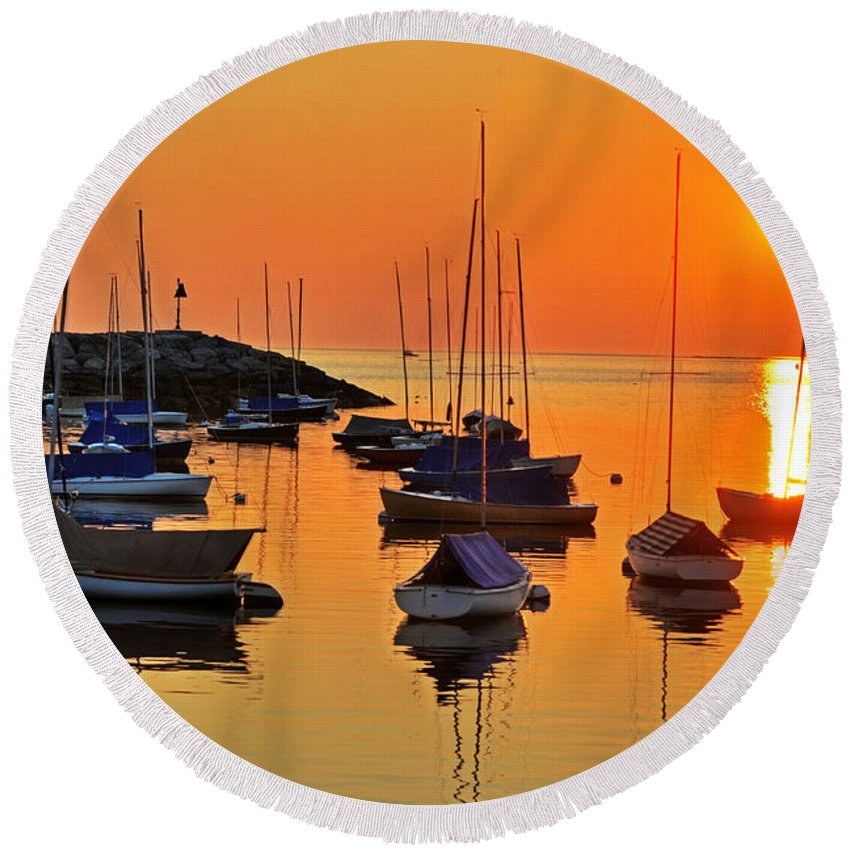 Rockport Round Beach Towel featuring the photograph Rockport Ma Boats Rockport Harbor by Toby McGuire