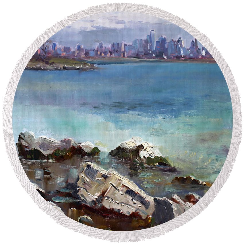 Toronto Round Beach Towel featuring the painting Rocks N' The City by Ylli Haruni