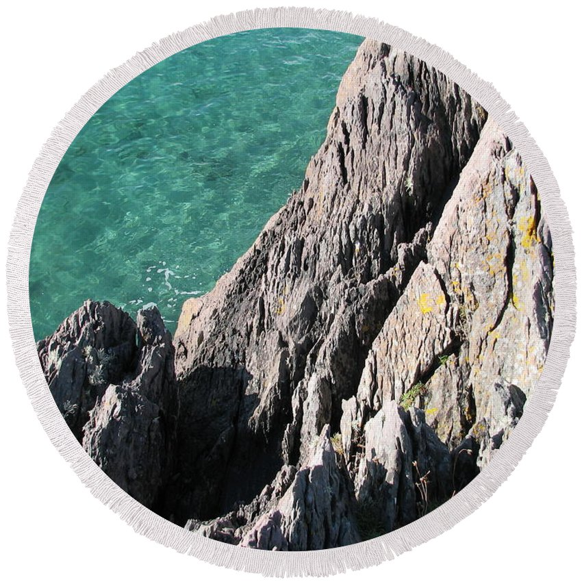 Kerry Round Beach Towel featuring the photograph Rocks Of Kerry by Kelly Mezzapelle