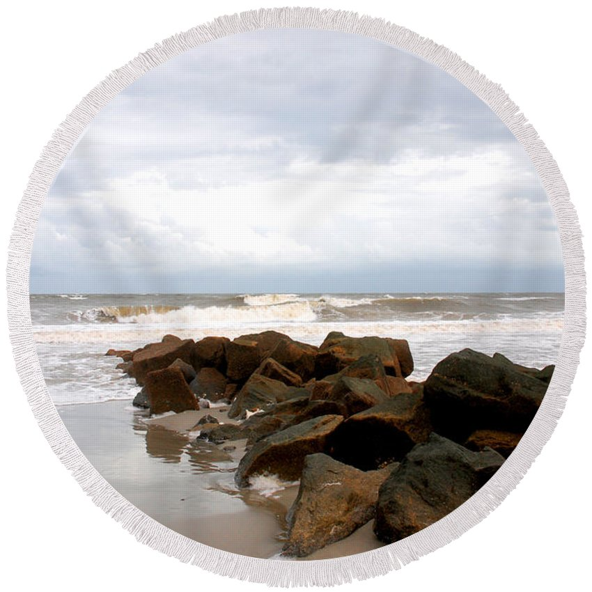 Rocks Round Beach Towel featuring the photograph Rocks On The Beach by Susanne Van Hulst