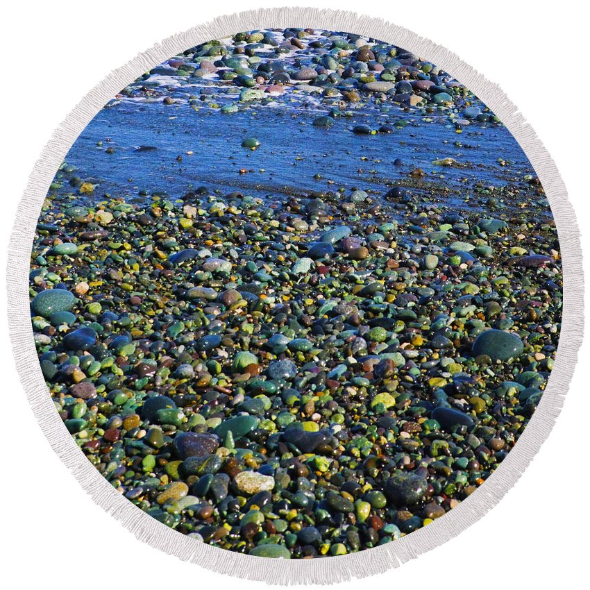 Rocks Round Beach Towel featuring the photograph Rocks by Skip Nall