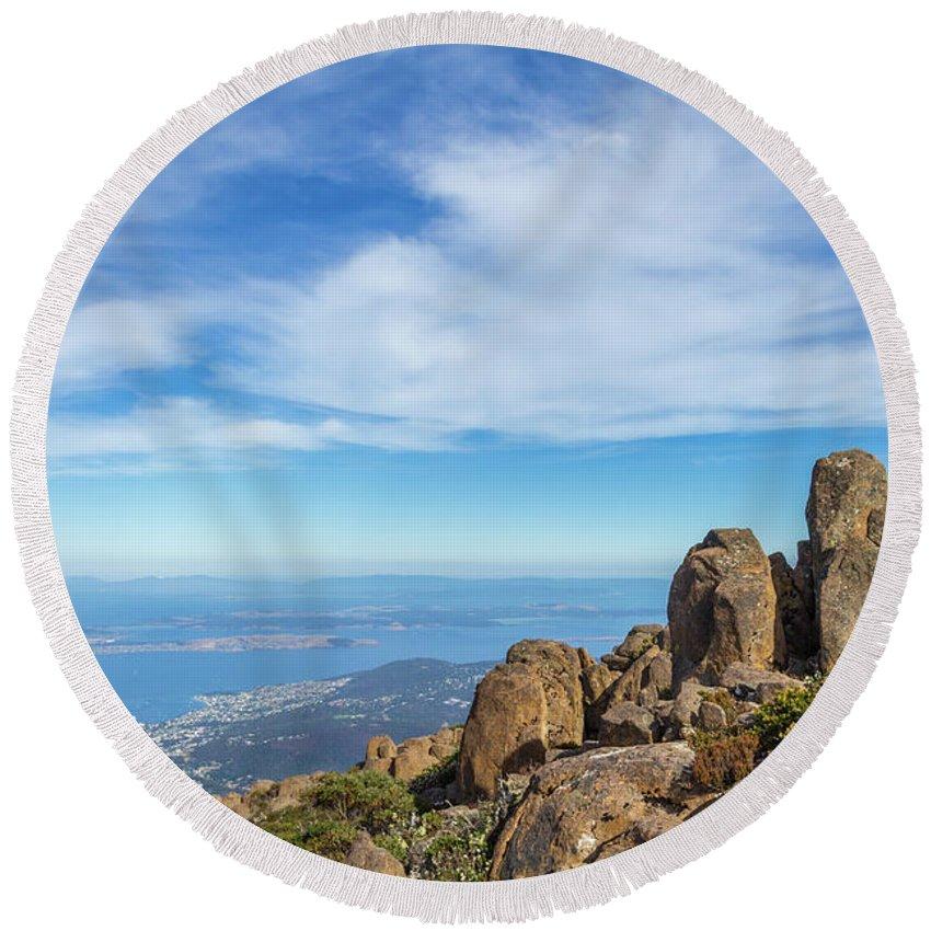 Australia Round Beach Towel featuring the photograph rocky Australian mountain summit by Andrew Balcombe