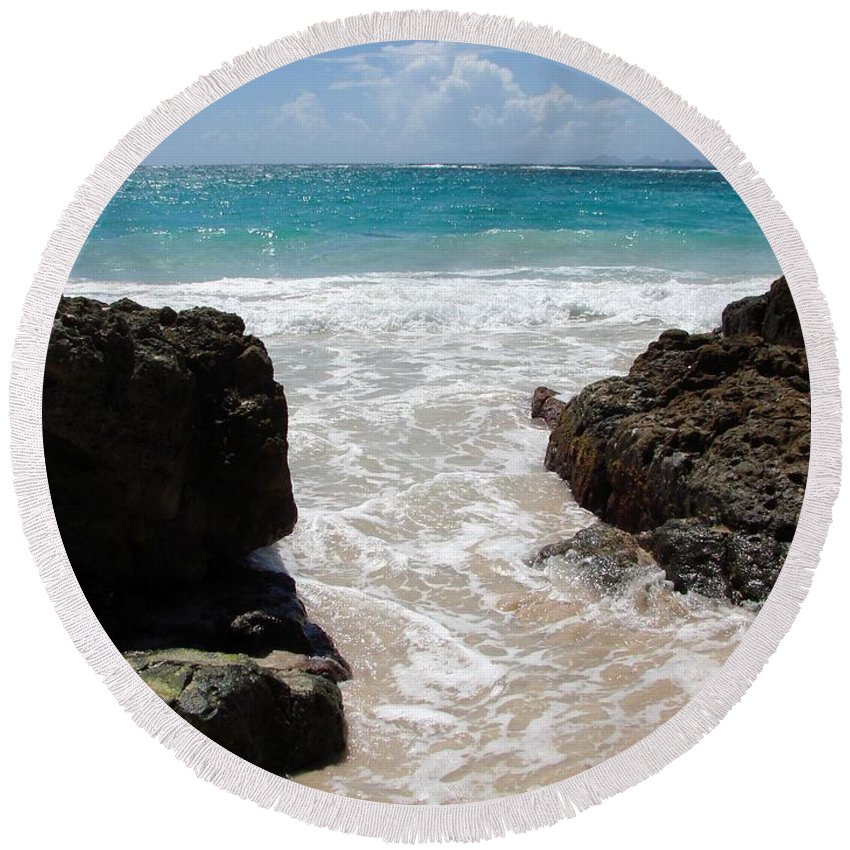 Caribbean Round Beach Towel featuring the photograph Rocky Beach In The Caribbean by Margaret Bobb