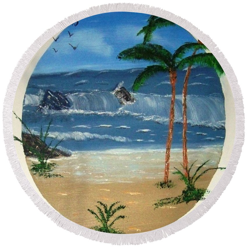 Rocks Beach Palm Trees Sand Waves Ocean Water Round Beach Towel featuring the painting Rocky Beach by Lawrence Booth
