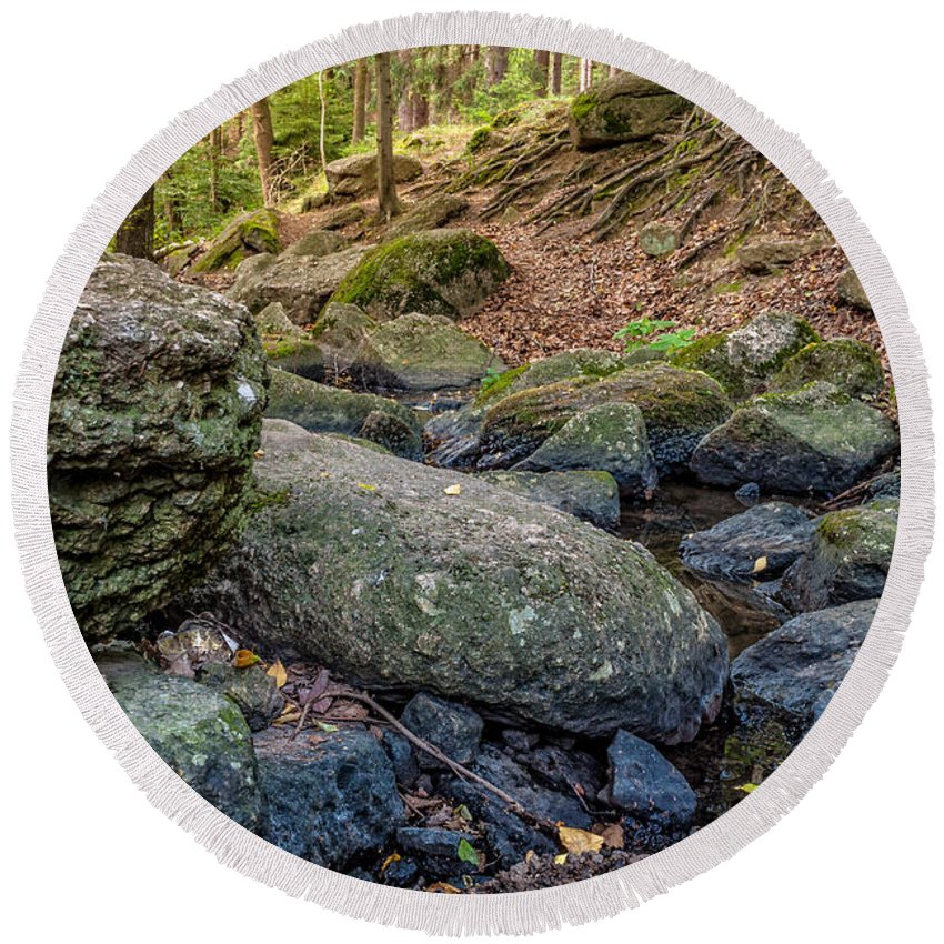 Strean Round Beach Towel featuring the photograph Rocky Brook by Martin Capek