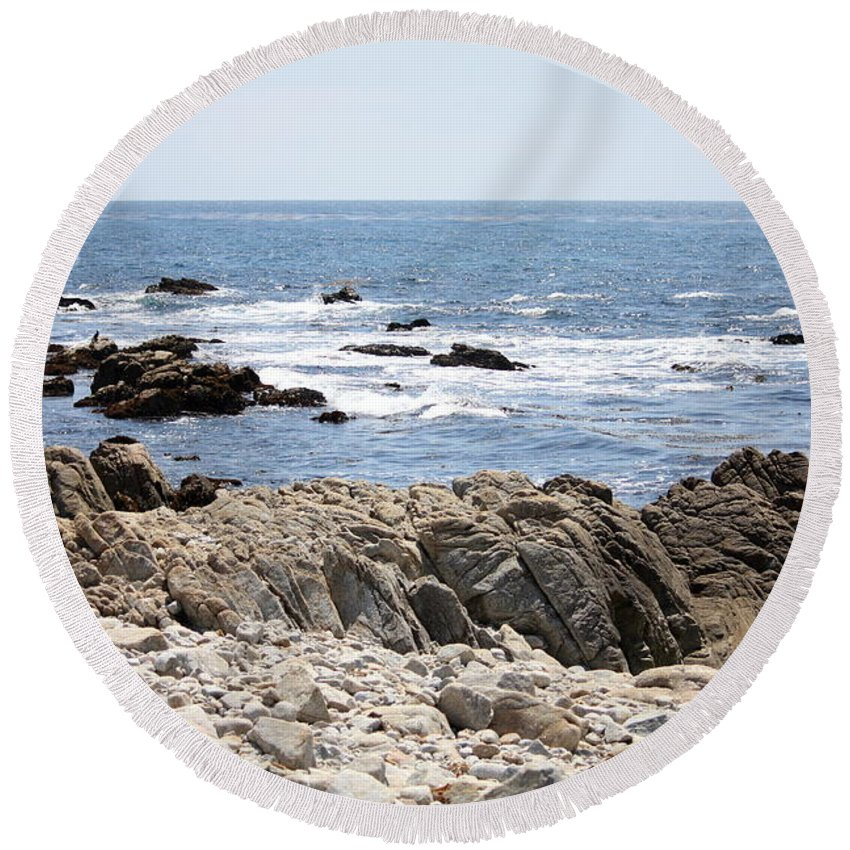 California Round Beach Towel featuring the photograph Rocky California Coastline by Carol Groenen
