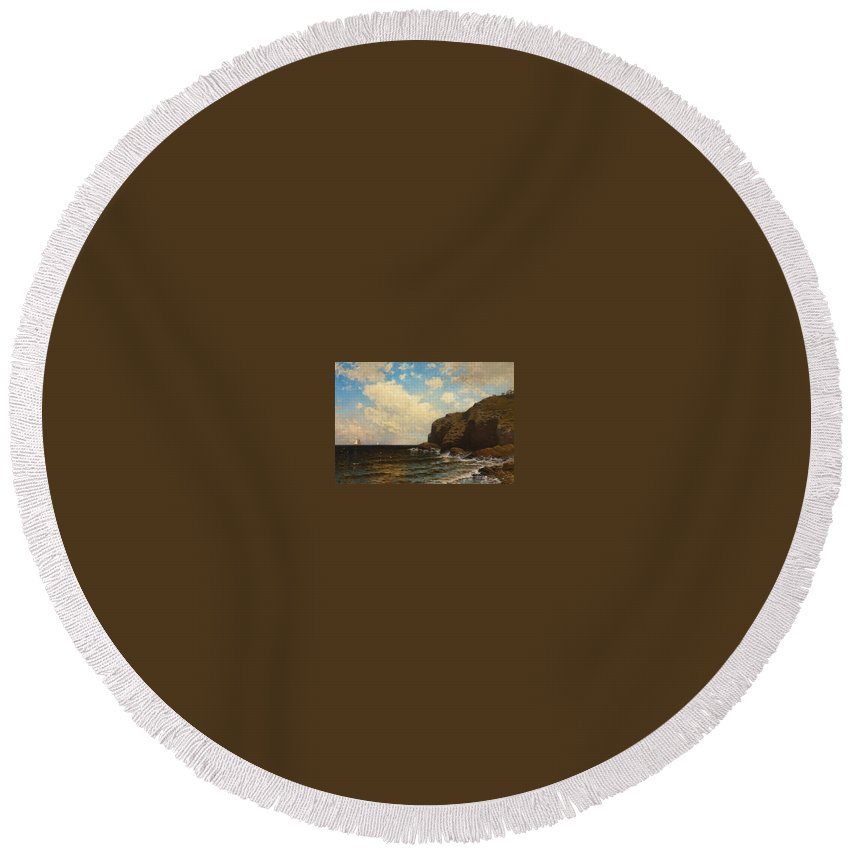 Alfred Thompson Bricher Round Beach Towel featuring the painting Rocky Coast With Breaking Waves by Alfred Thompson