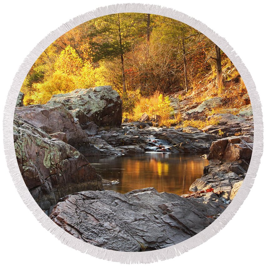 Autumn Round Beach Towel featuring the photograph Rocky Creek II On Mill Mountain In The Missouri Ozarks by Greg Matchick