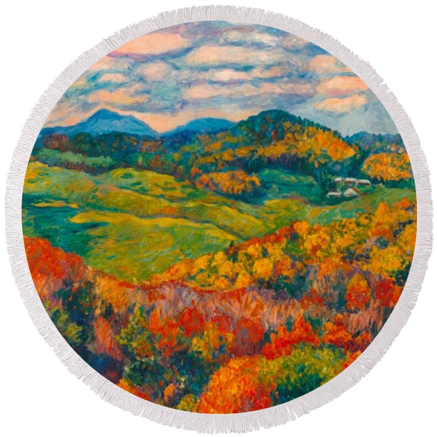 Rocky Knob Round Beach Towel featuring the painting Rocky Knob In Fall by Kendall Kessler