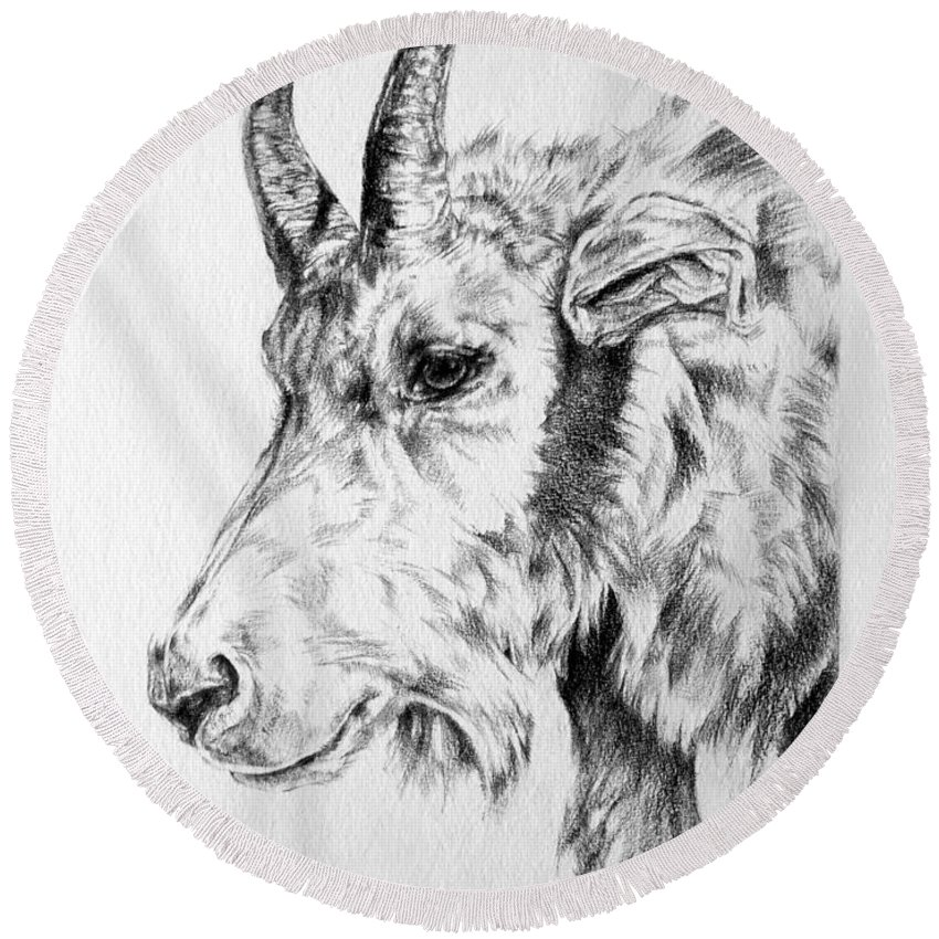 Mountain Goat Round Beach Towel featuring the drawing Rocky Mountain Goat by Derrick Higgins