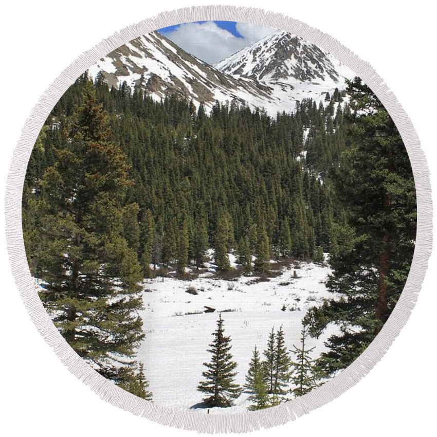 Nature Round Beach Towel featuring the photograph Rocky Mountain High by Tonya Hance