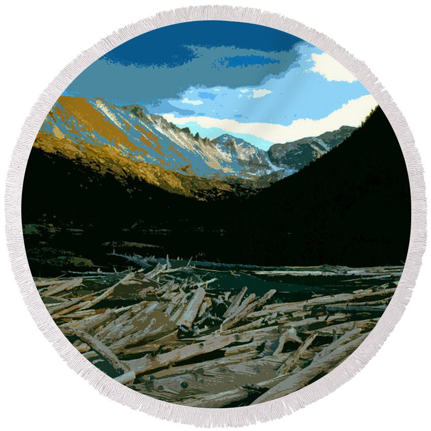 Rocky Mountain National Park Round Beach Towel featuring the painting Rocky Mountain National Park by David Lee Thompson
