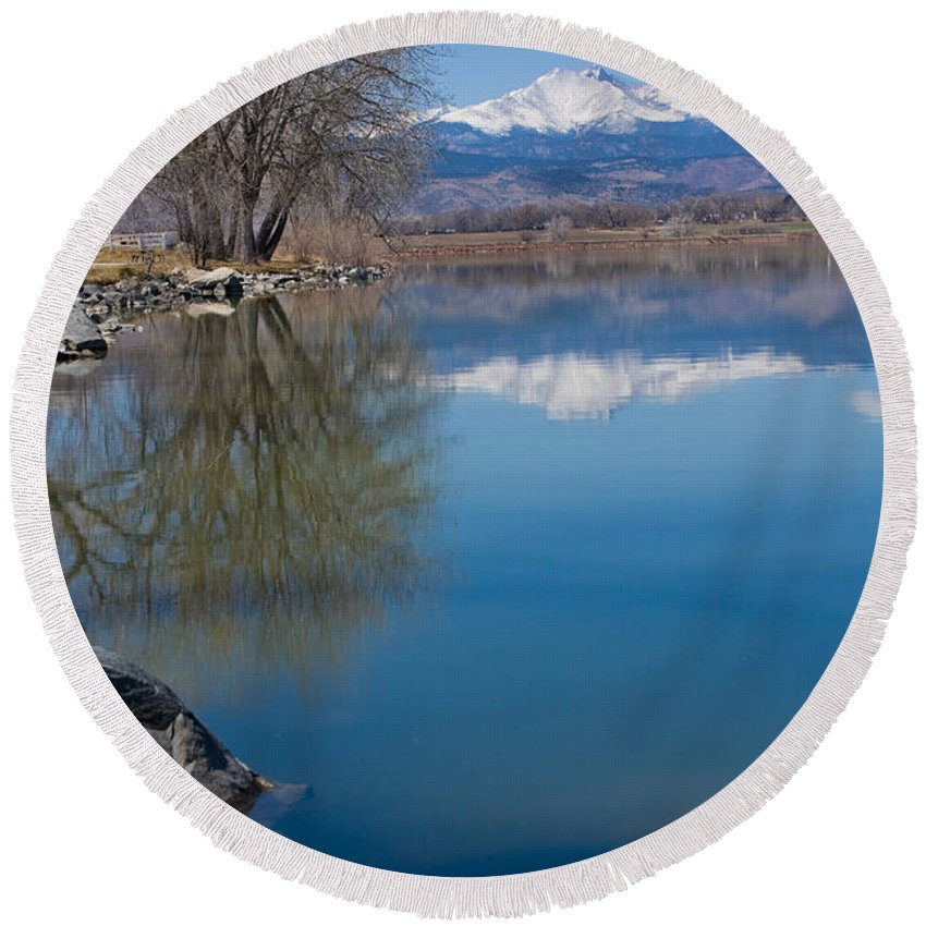 Twin Peeks Round Beach Towel featuring the photograph Rocky Mountain Reflections by James BO Insogna