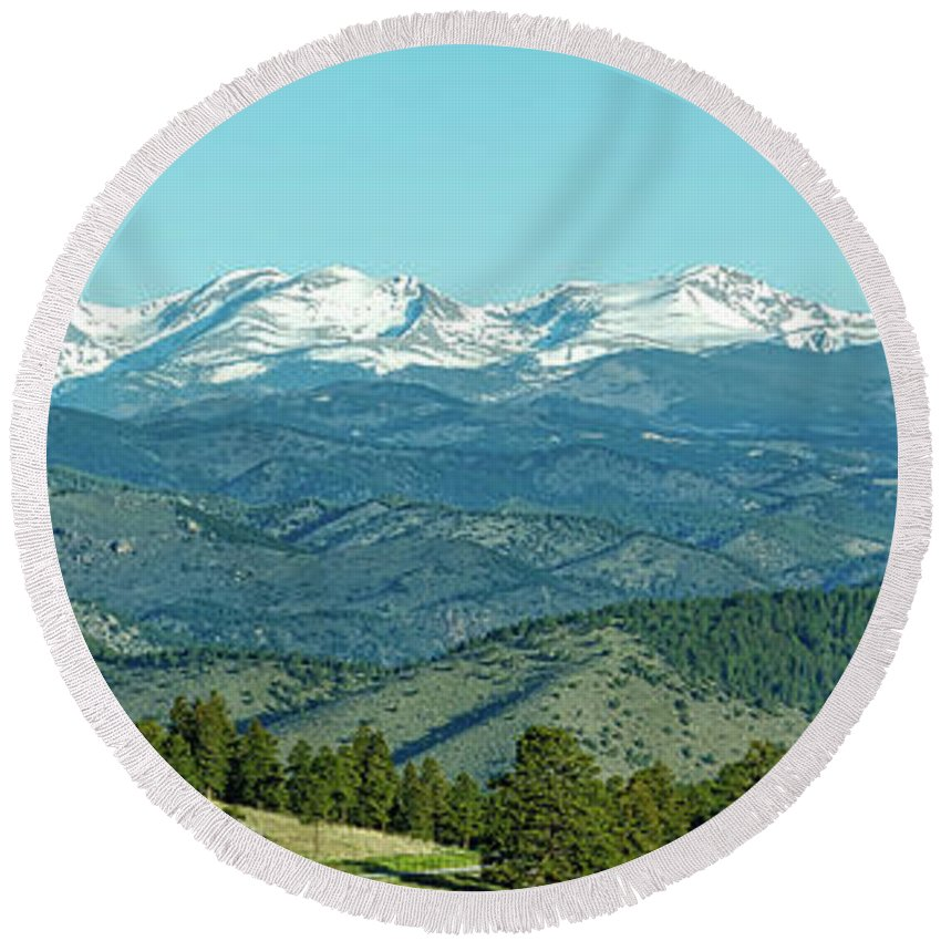 Genesee Round Beach Towel featuring the photograph Rocky Mountains Panorama by Edward Moorhead
