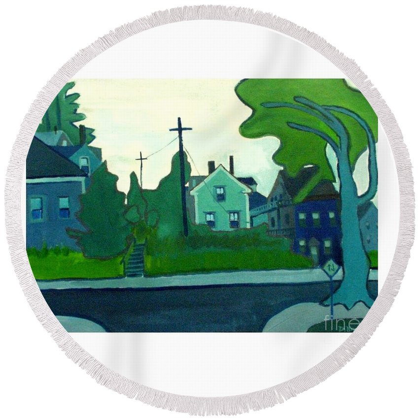 Landscape Round Beach Towel featuring the painting Rocky Neck Art Colony East Gloucester Ma by Debra Bretton Robinson