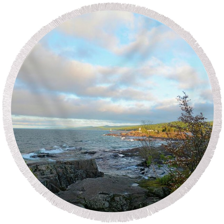 Lake Round Beach Towel featuring the photograph Rocky Point by Bonfire Photography