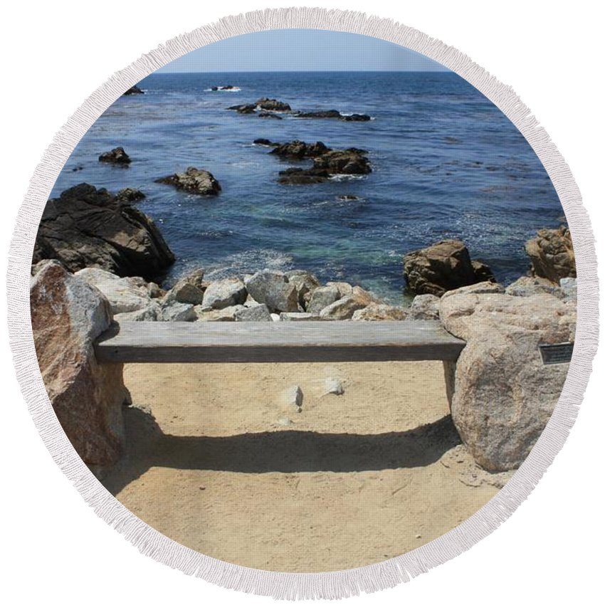 Seaside Bench Round Beach Towel featuring the photograph Rocky Seaside Bench by Carol Groenen