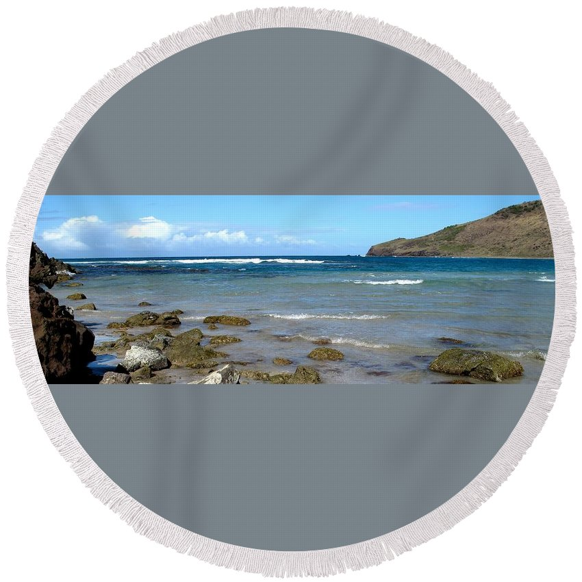 St Kitts Round Beach Towel featuring the photograph Rocky Shore by Ian MacDonald