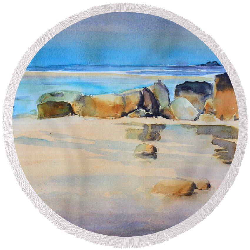 Rocky Shore Round Beach Towel featuring the painting Rocky Shore by Ibolya Taligas
