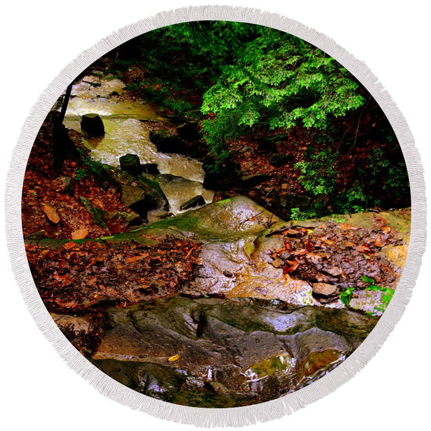 Mcconnells Mill State Park Pa Round Beach Towel featuring the photograph Rocky Stream by Lisa Wooten