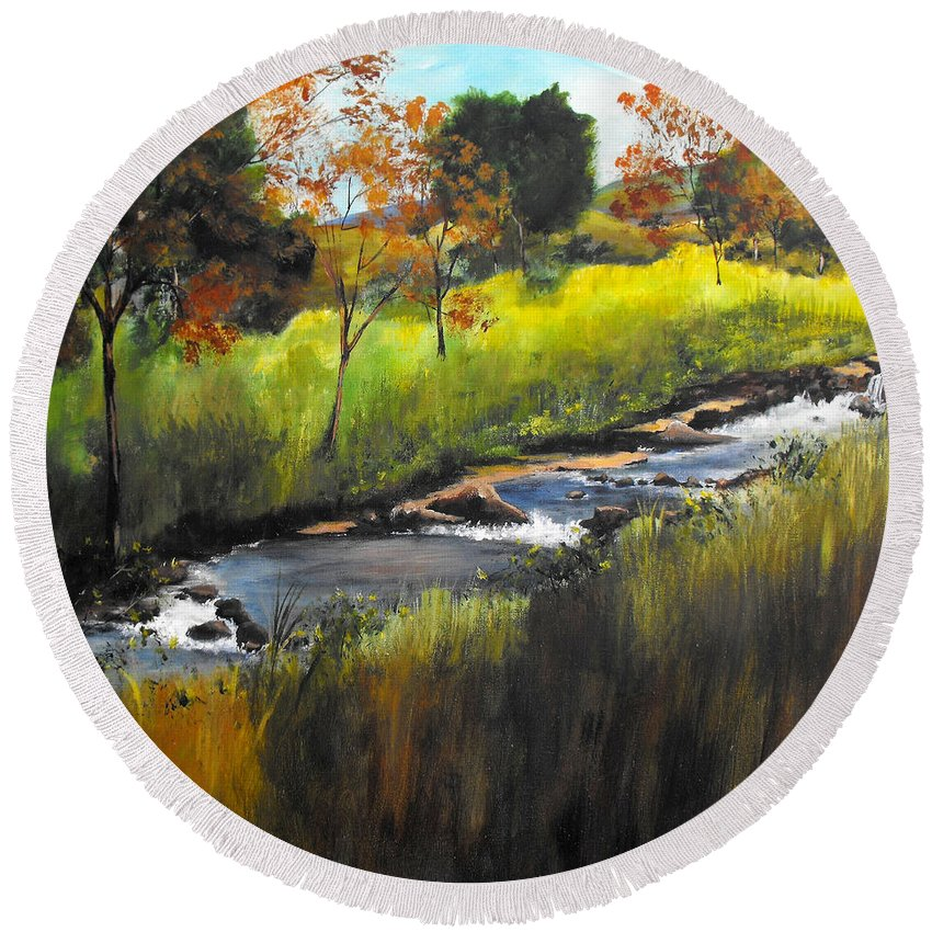 Landscape Round Beach Towel featuring the painting Rocky Stream by Ruth Palmer