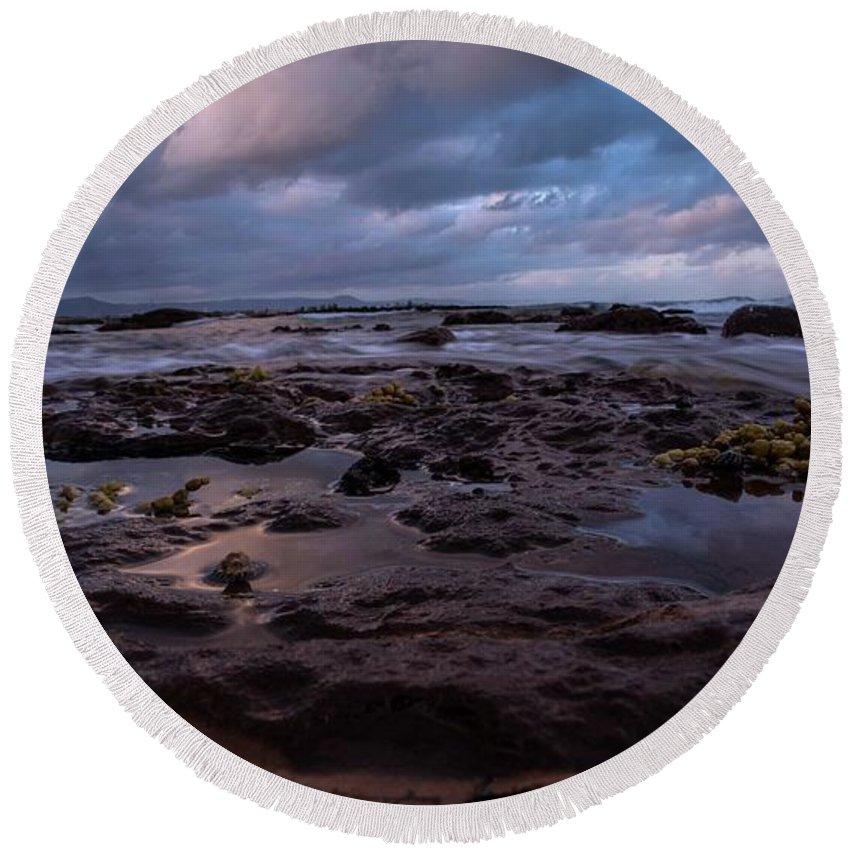 Nature Round Beach Towel featuring the photograph Rocky Sunset by Farzin Fardin