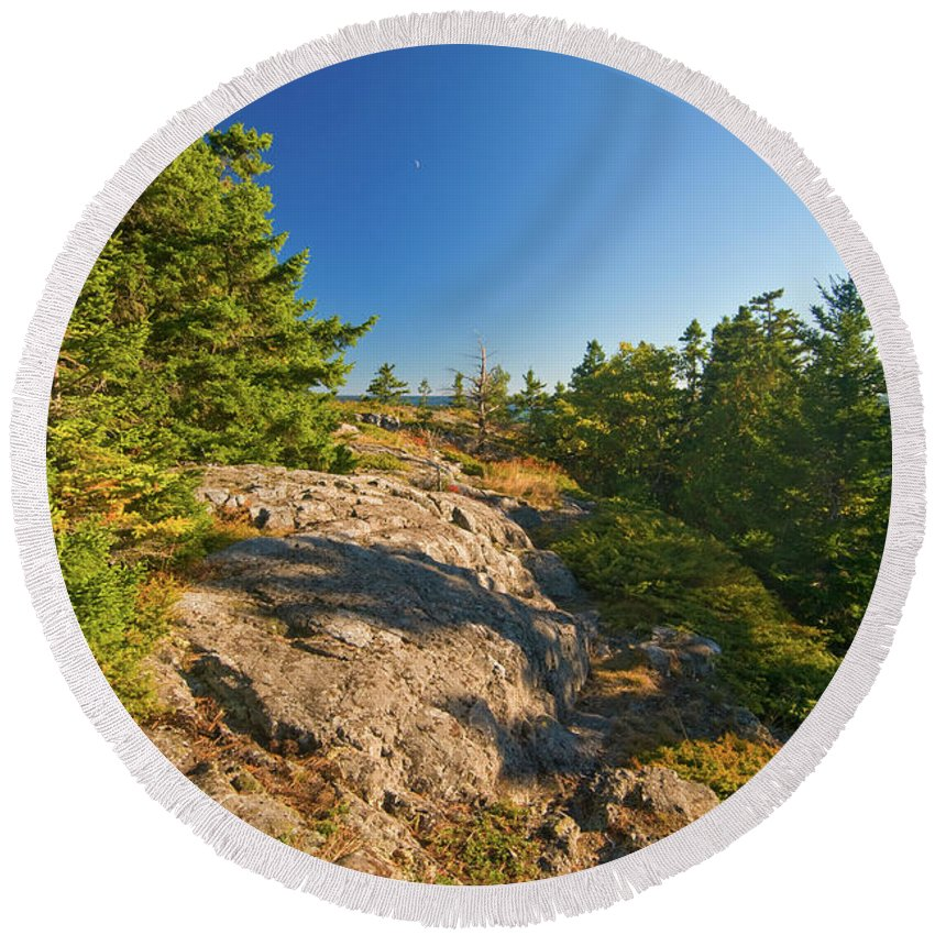 acadia National Park Round Beach Towel featuring the photograph Rocky Trail by Paul Mangold