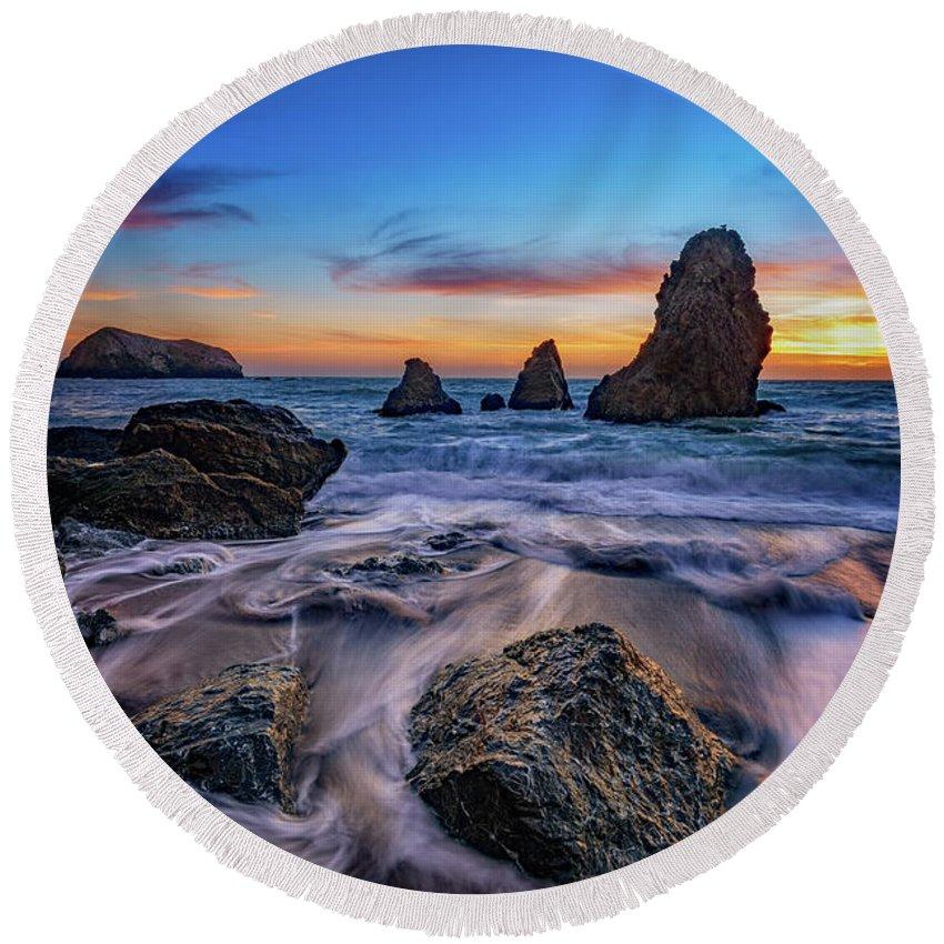 Marin Headlands Round Beach Towel featuring the photograph Rodeo Beach Sunset by Rick Berk