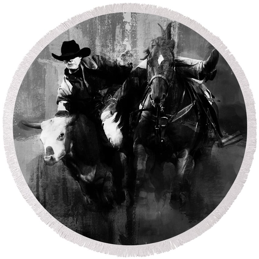 Cowboy Round Beach Towel featuring the painting Rodeo In Black by Gull G