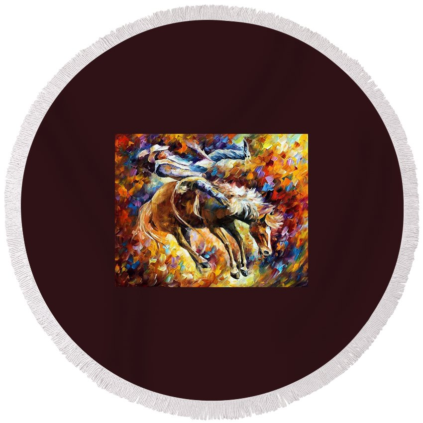 Afremov Round Beach Towel featuring the painting Rodeo by Leonid Afremov