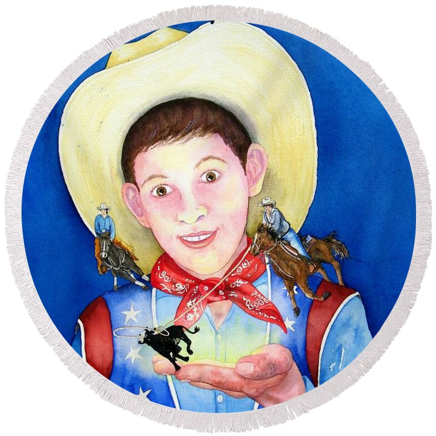 Boy Round Beach Towel featuring the painting Rodeo Magic by Gale Cochran-Smith