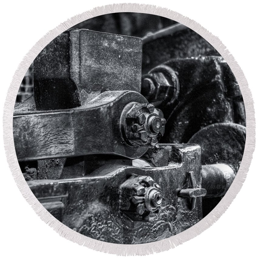 Machinery Round Beach Towel featuring the photograph Rods Of Steel by Scott Wyatt