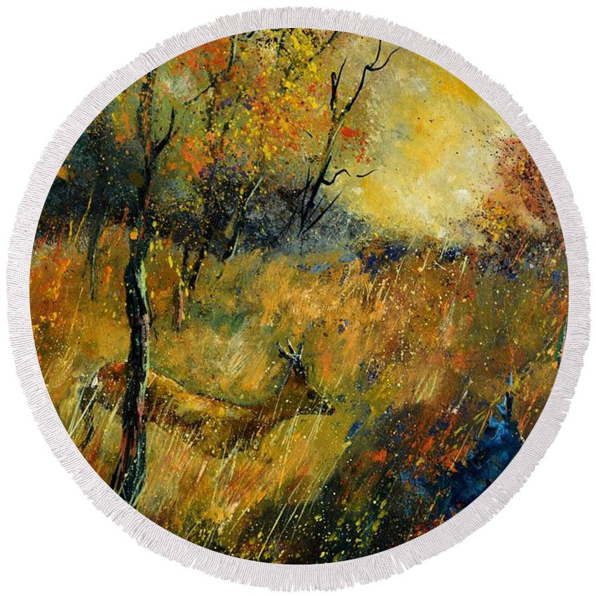 Animal Round Beach Towel featuring the painting Roe Deer by Pol Ledent