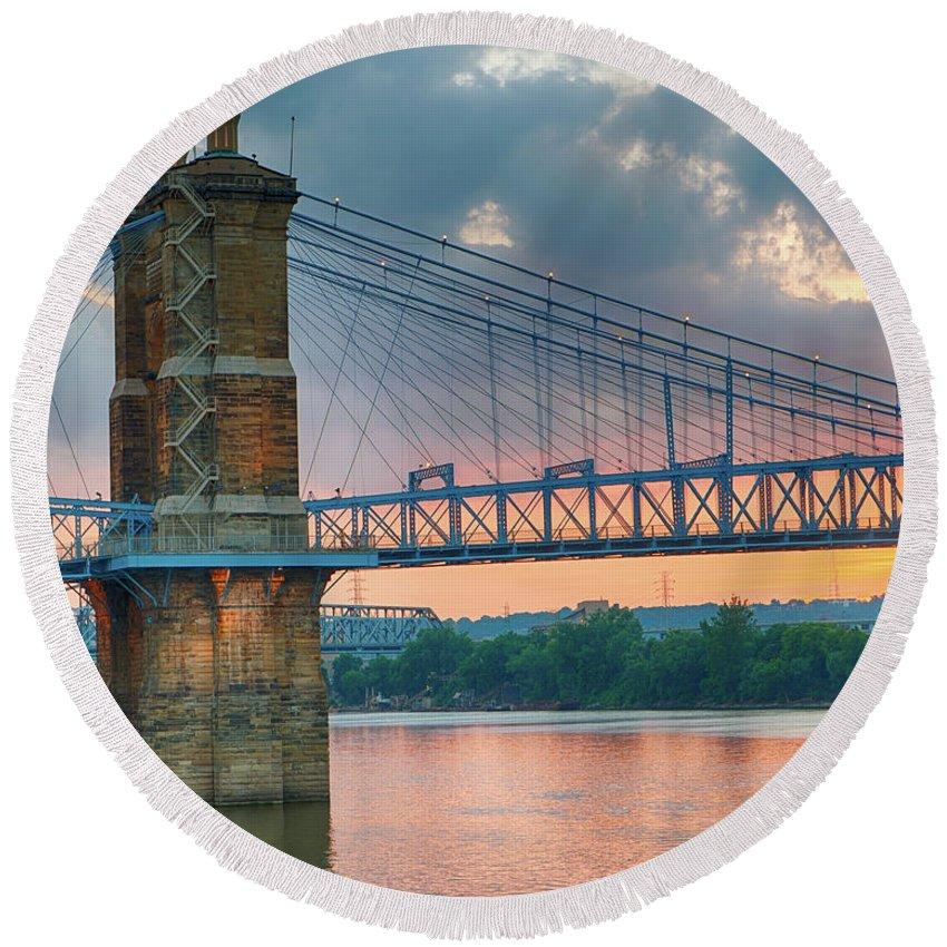 Soft Round Beach Towel featuring the photograph Roebling Suspension Bridge - Cincinnati, Ohio by Edward Moorhead