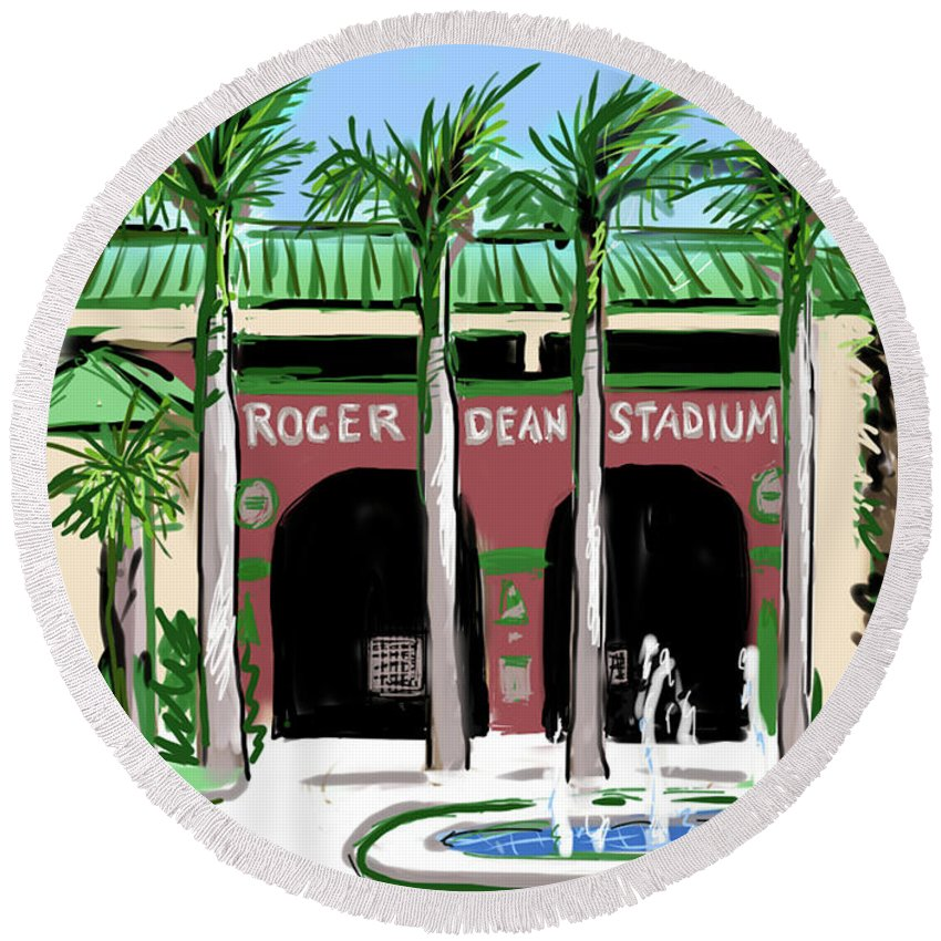 Roger Dean Stadium Round Beach Towel featuring the painting Roger Dean Stadium by Jean Pacheco Ravinski