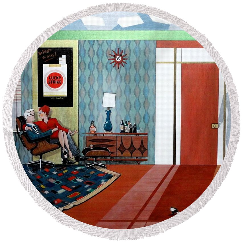 John Lyes Round Beach Towel featuring the painting Roger Sterling And Joan Sitting In An Eames by John Lyes