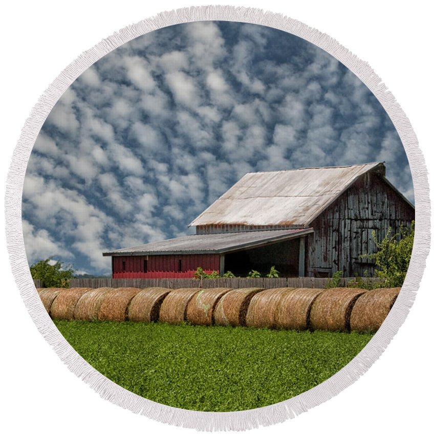 Hay Round Beach Towel featuring the photograph Rolled Up - Hay Rolls And Barn by Mitch Spence