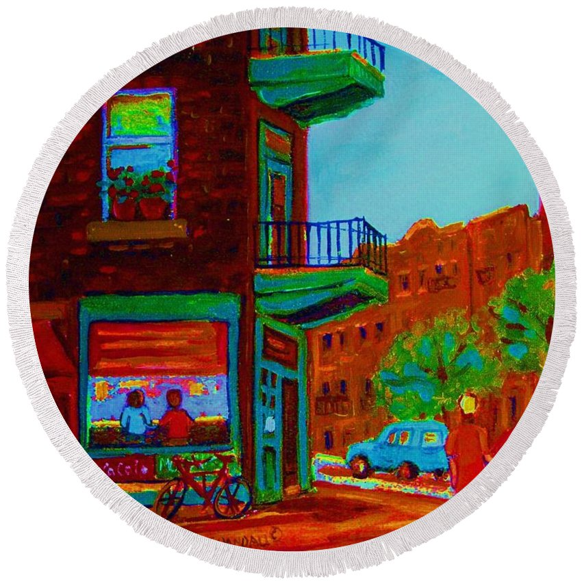 Wilenskys Round Beach Towel featuring the painting Rollerblading Past The Cafe by Carole Spandau