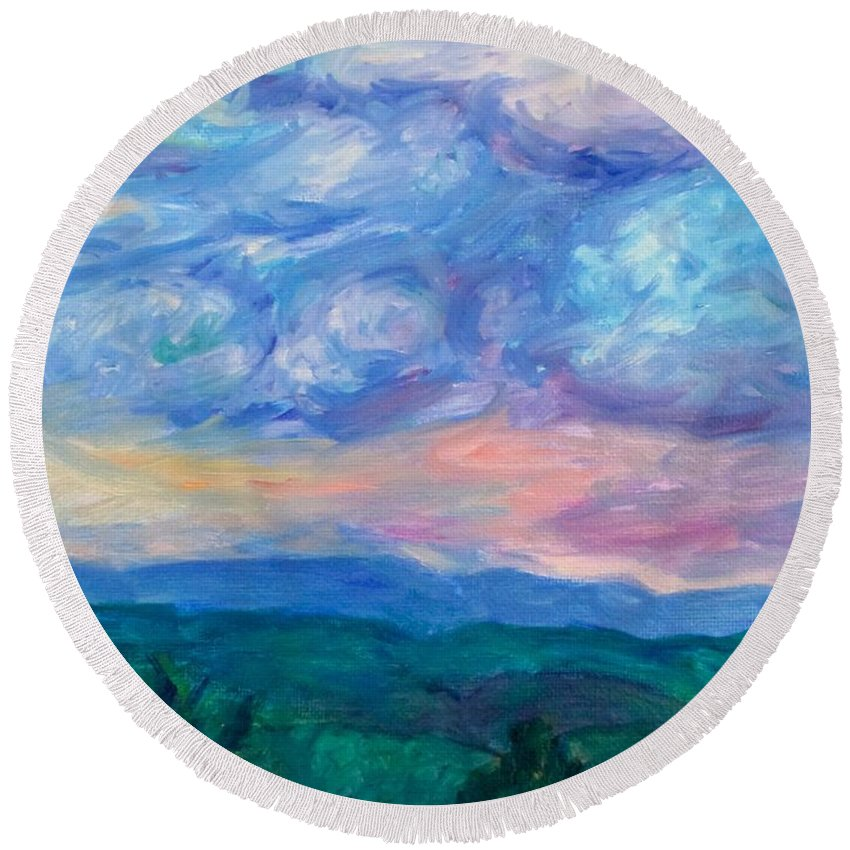 Landscape Round Beach Towel featuring the painting Rolling Beauty Stage One by Kendall Kessler